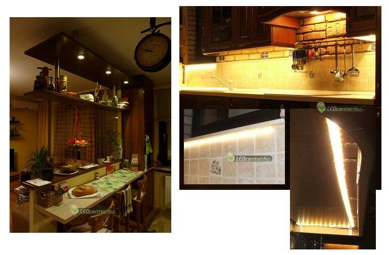Étkező és konyhapult LED szpotos és szalagos megvilágítása