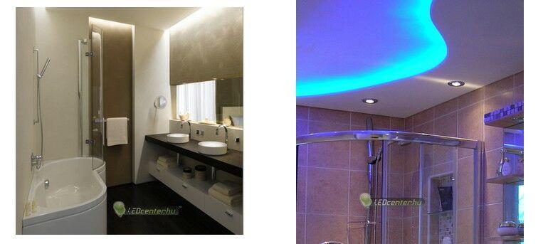 Fürdőszoba normál mennyezettel és gipszkarton elemekkel