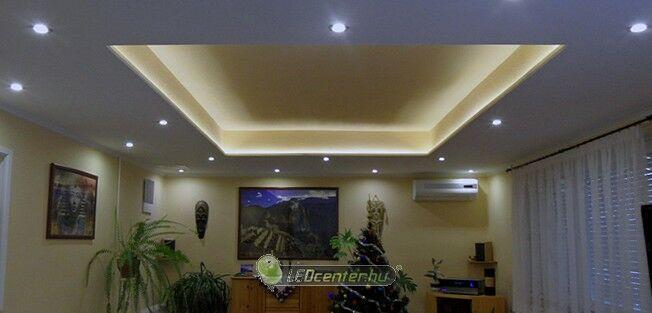 Nappali LED szpotos és szalagos világítása