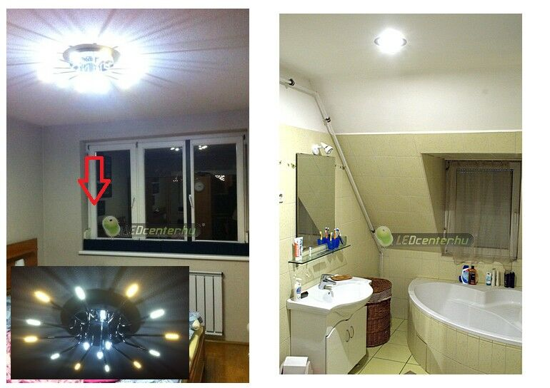 Hálószoba LED G4 és fürdő INTI LED fényforrással