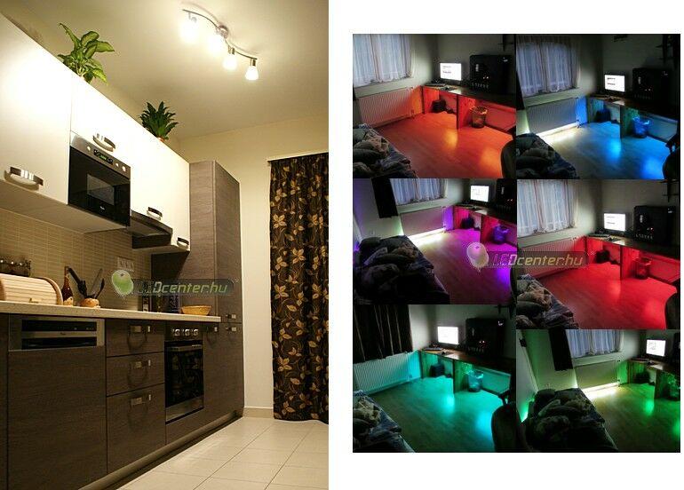 Konyha TITANIUS szpotokkal és hálószoba FIESTA RGB LED szalaggal