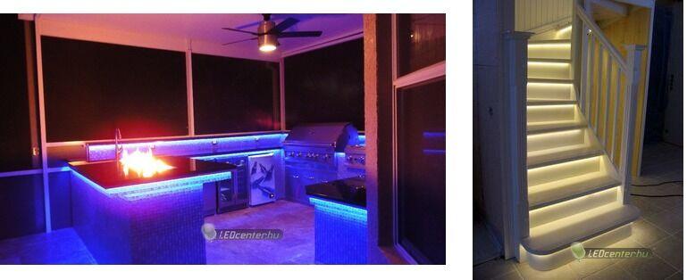 Kerti konyha és lépcső AURORA LED szalagokkal