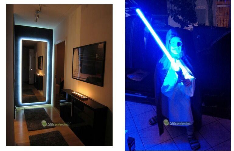 Tükör mögé épített AURORA LED szalag és kék LED-ekből épített egyedi fénykard