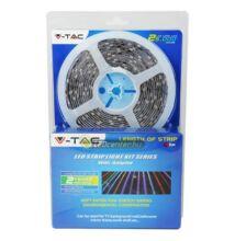 LED szalag szett: 60 RGB LED/m, 5m, 9 W/m, IR távirányító, adapter, beltéri, 2évG