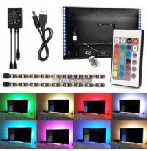 USB tv háttérvilágítás, 5V, 7,2W, 2x50cm, RGB - távirányítóval