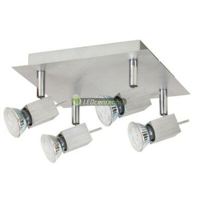 AGATA-4 szálcsiszolt alumínium lámpatest és 4x5W=50W melegfehér GU10 LED szpot