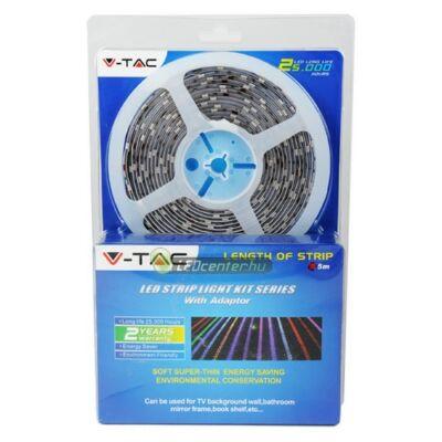 LED szalag szett: 30 RGB LED/m, 5m, 4,8 W/m, IR távirányító, adapter, beltéri, 2évG