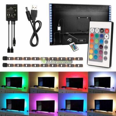 USB tv háttérvilágítás, 5V, 7,2W, 2x50cm + 2x30cm, RGB - távirányítóval