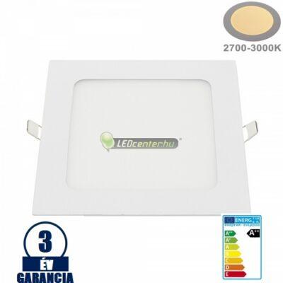 INTI 18W=144W négyzet fehér LED mennyezeti lámpa melegfehér 3évG