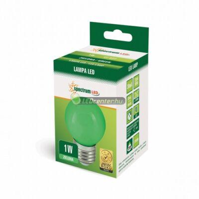 Spectrum 1W E27/230V LED kisgömb, zöld 2évGar