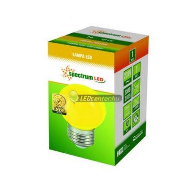 Spectrum 1W E27/230V LED kisgömb, sárga 2évGar
