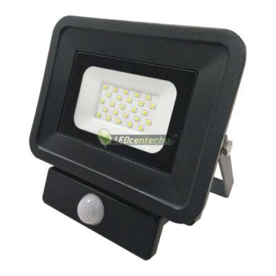 SLIM2 fekete LED reflektor, mozgásérzékelős, 20W/230V, melegfehér