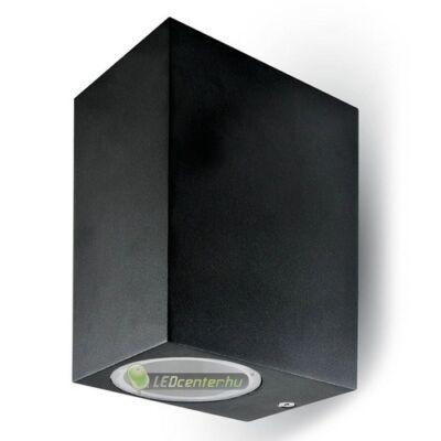 Negro-2 alumínium szögletes fekete kültéri fali lámpa 2xGU10, IP44
