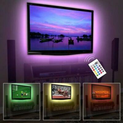 USB tv háttérvilágítás, 5V, 7,2W, 2x50cm, RGB - vezérlővel