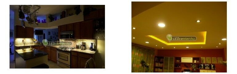 Konyhapult és nappali megvilágítása LED szalagokkal, mennyezeti lámpákkal és szpotokkal