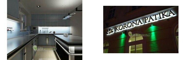 Konyhamegvilágítás LED szalagokkal és szpotokkal, homlokzati indirekt megvilágítás