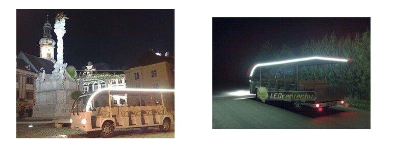 Elektromos kisbusz dekorációs világítása LED szalaggal