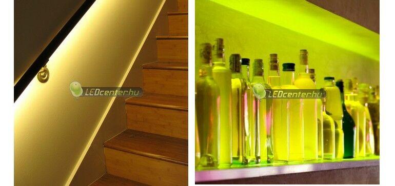 Lépcsőkorlátba szerelt dekorációs LED világítás és RGB LED szalag bárpultba rejtve