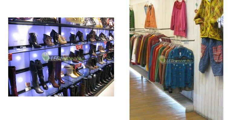 Cipőüzlet plexi falának megvilágítása EPISTAR SMD5050 LED szpotokkal és ruházati üzlet LED szalagos dekorvilágítása